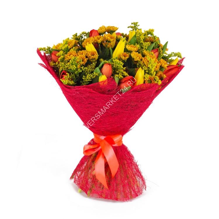 Роспись букет, букет из 47 тюльпанов и хризантем